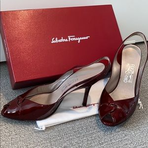SALVATORE FERRAGAMO red patent leather HiHeel mule